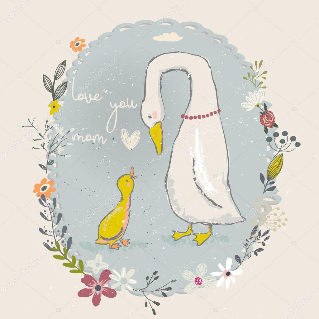 cartoon goose and gosling