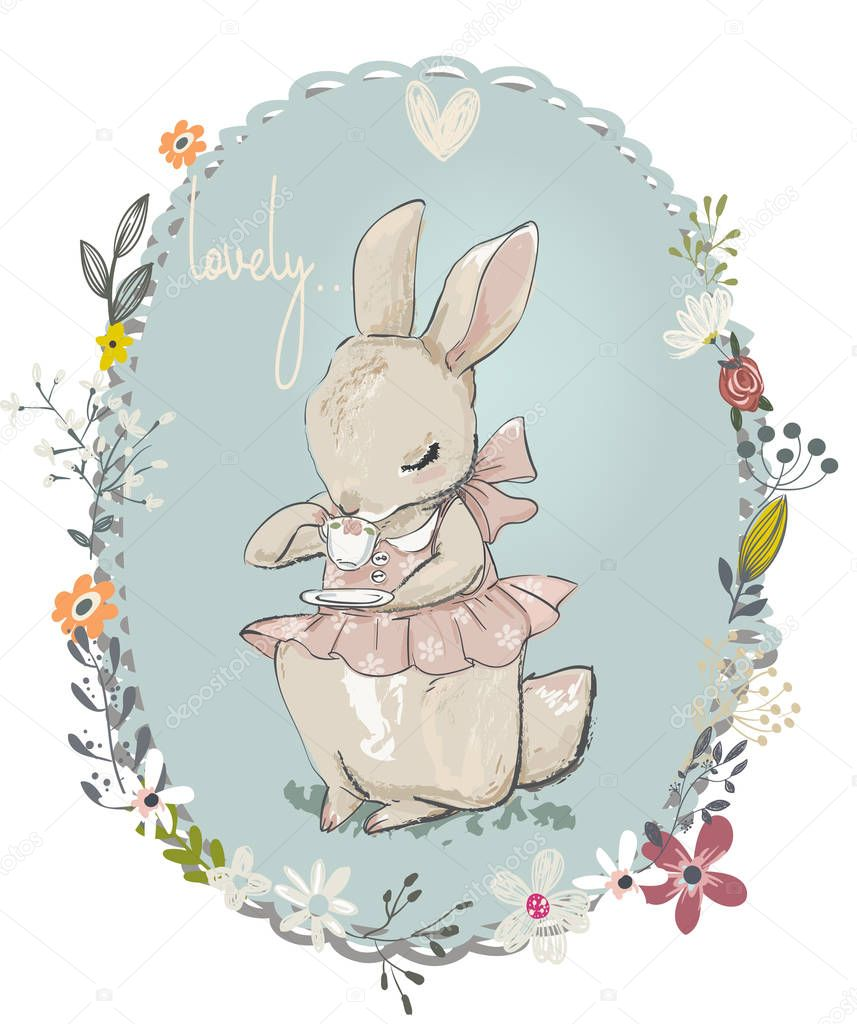 Cute little hare with flowers