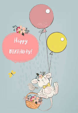 cute mouse with balloons