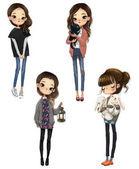 set with cartoon cute girls