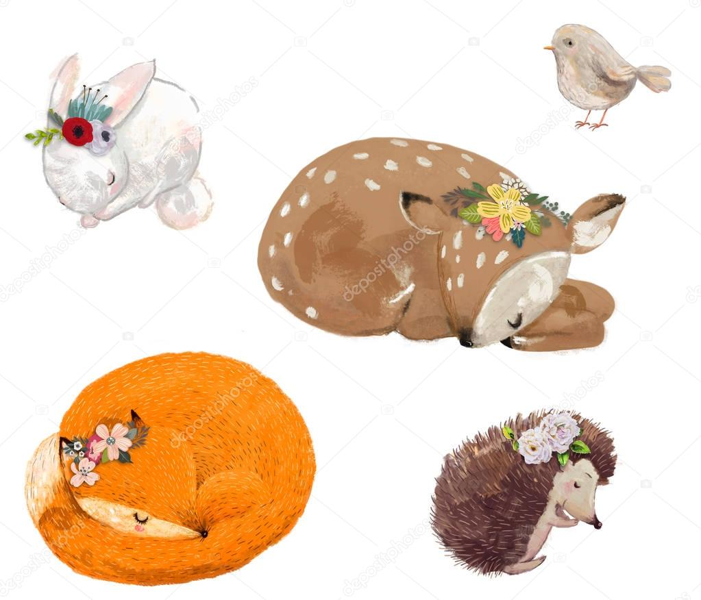 set of cute animals with floral wreath