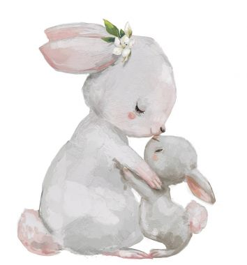 cute hares couple - mom and kid