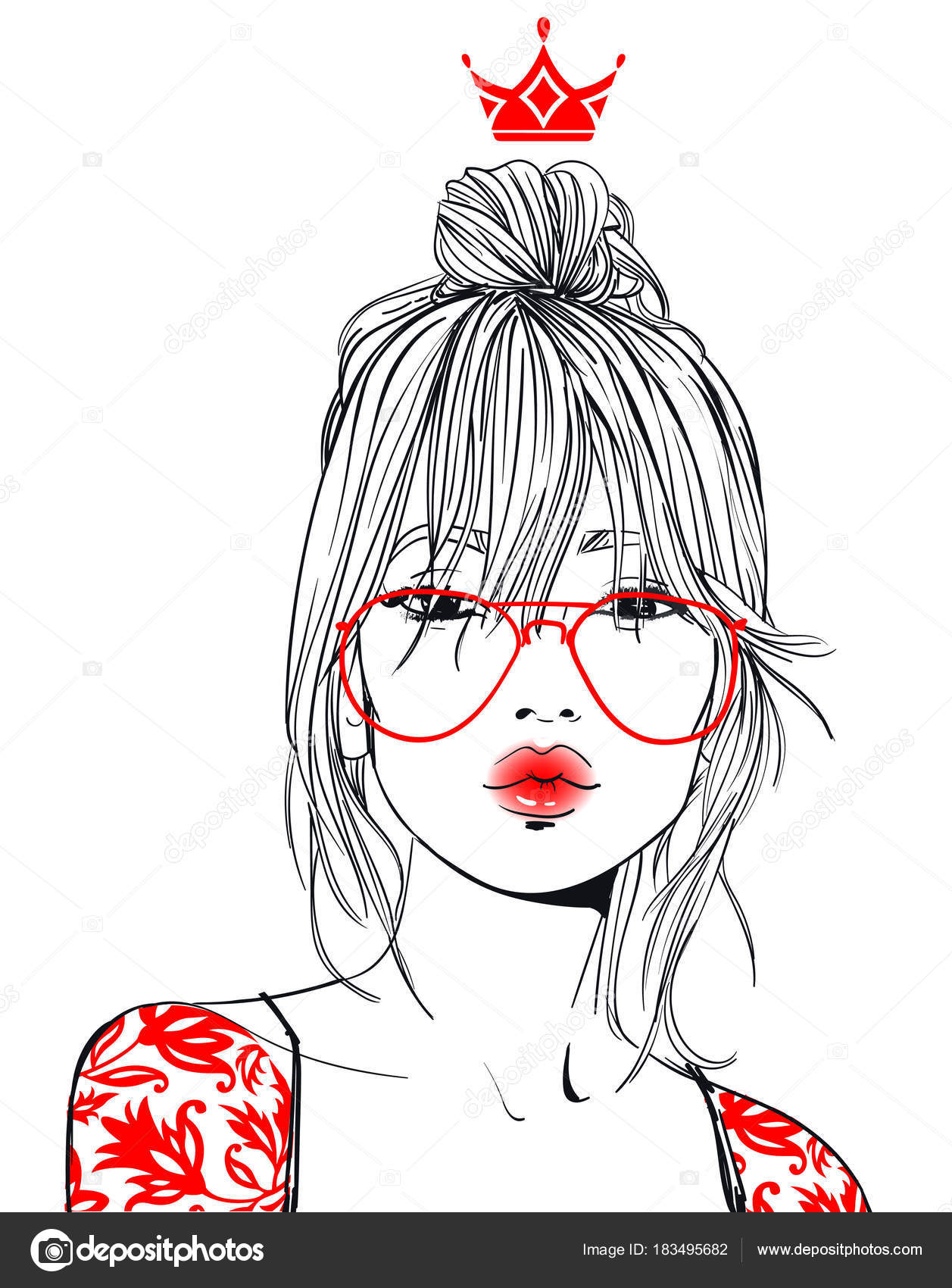 Young Beautiful Woman With Glasses Stock Vector C Cofeee 183495682