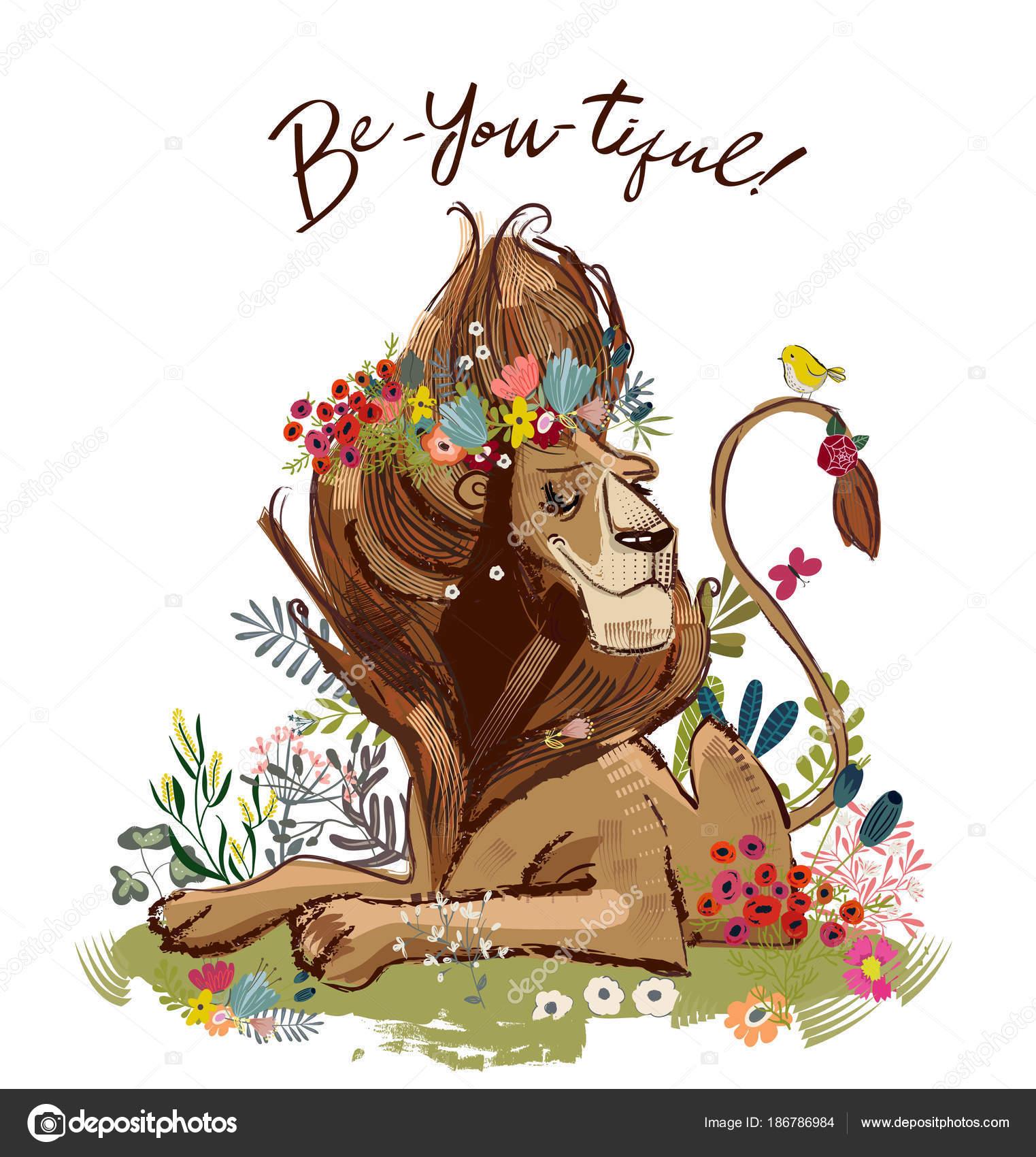 Roi Lion Dessin Animé Mignon Image Vectorielle Cofeee 186786984