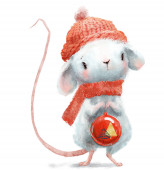 Photo cute little mouse with red hat and christmas ball