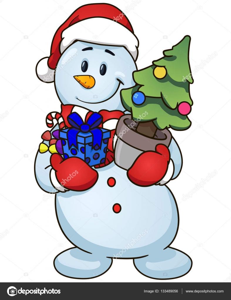 Cartoon Schneemann mit Weihnachtsbaum und Geschenke. Vektor Clip Art ...