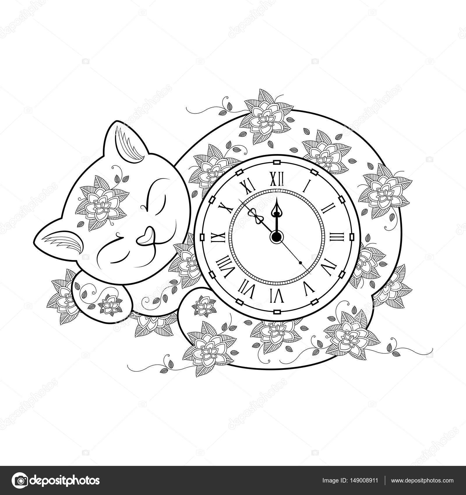 Página para colorear de gato reloj. Libro de colorear de línea ...