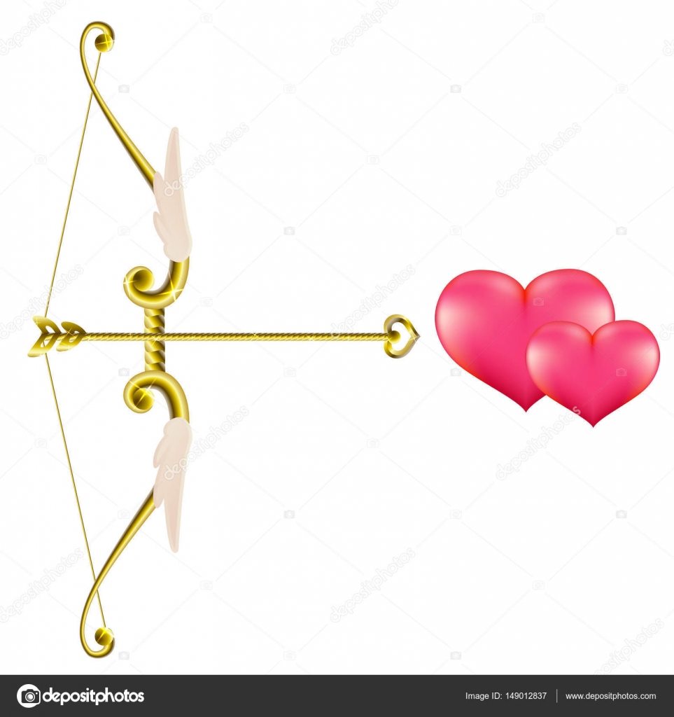 Valentine S Day Gold Bow And Arrow Vector Clip Art Illustration