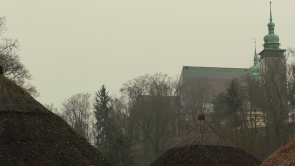 Misty view of the church and gorgeous morning scene