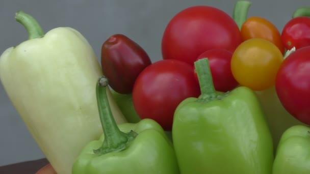 Cherry rajčata a papriky v misce. Čerstvá sezónní zelenina koncept