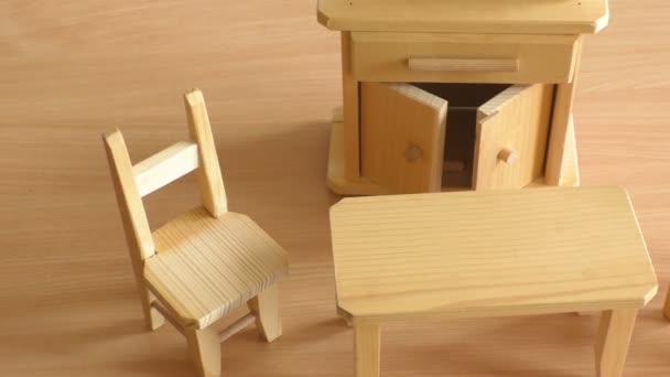 Wooden Doll Furniture Table Chairs And Buffet Miniature Wooden