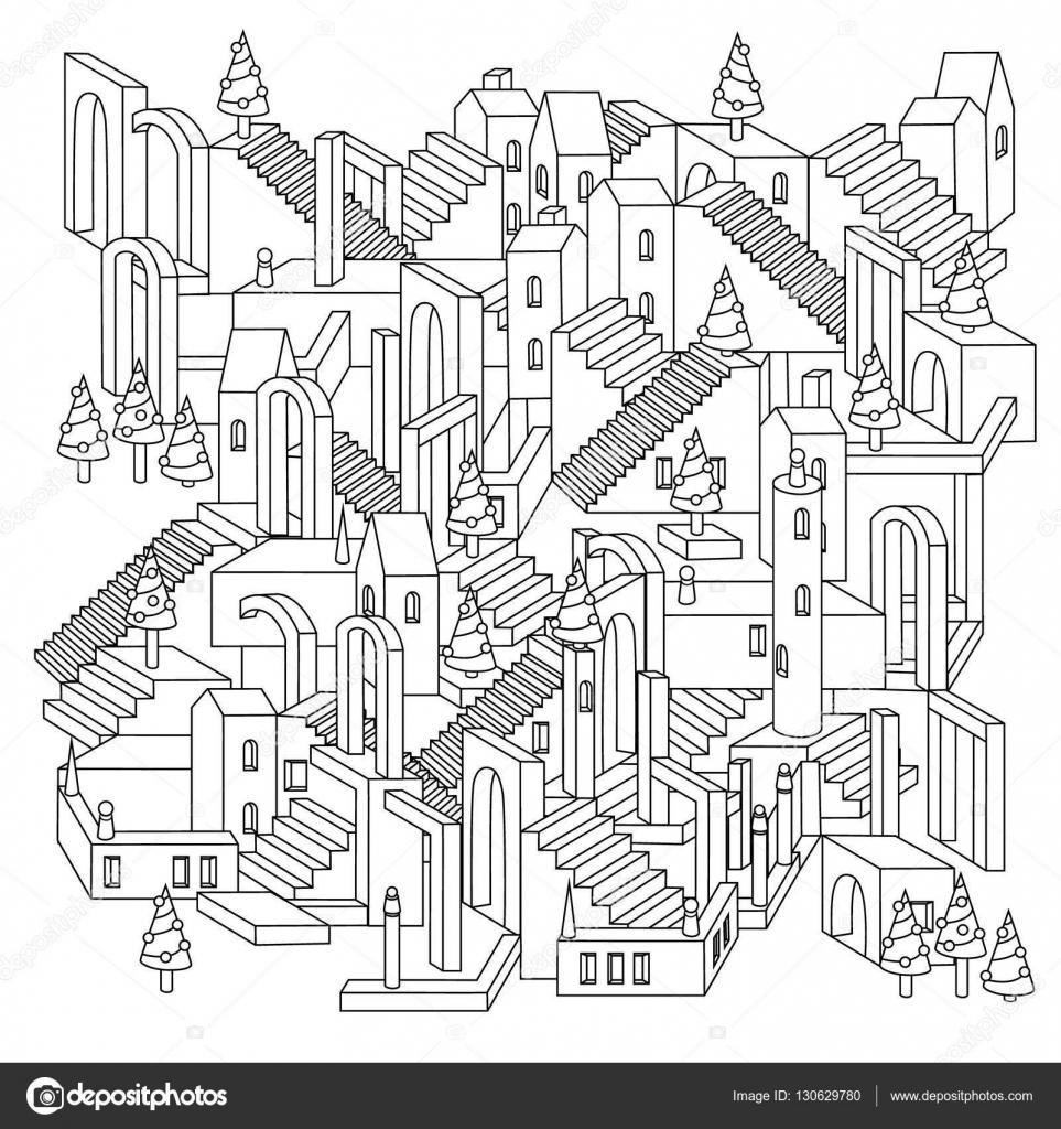 Vektor-Illustration der Zen-Kunst. Umriss-Stadt — Stockvektor ...