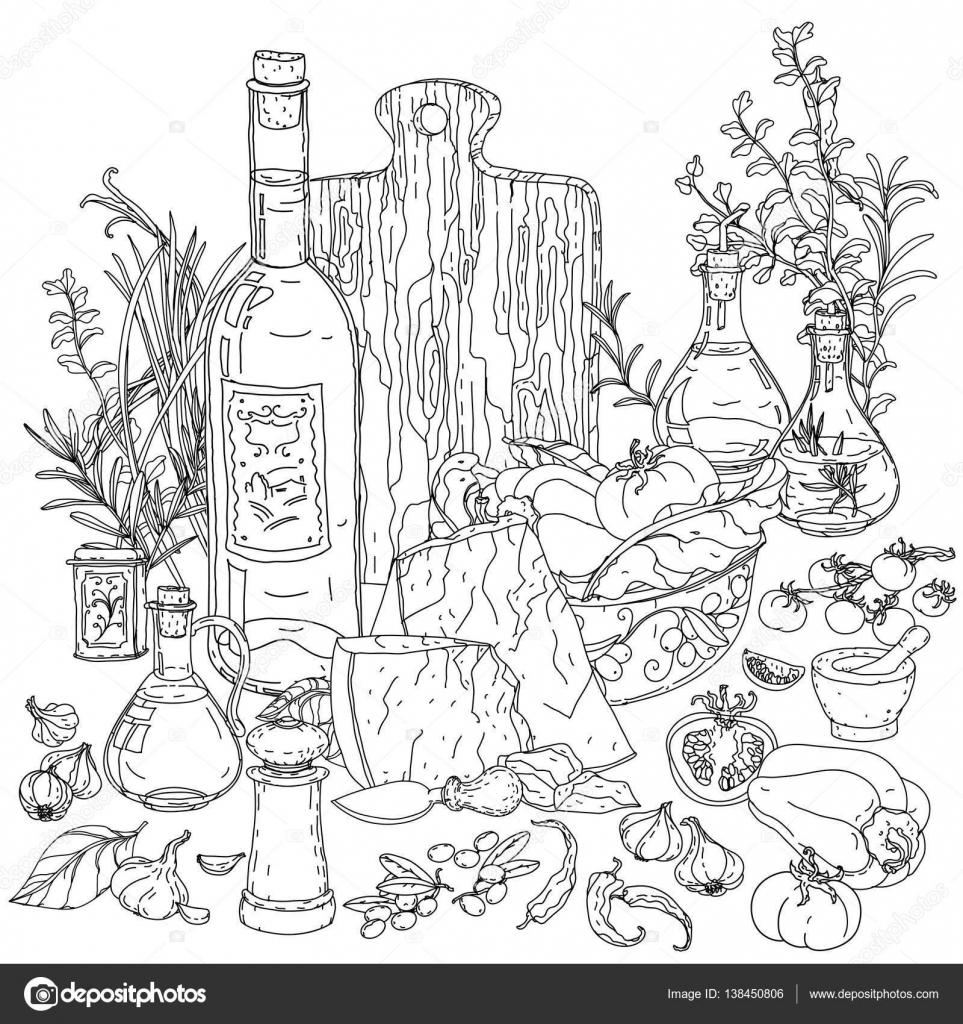 cucina italiana per libro da colorare — Vettoriali Stock © mashabr ...