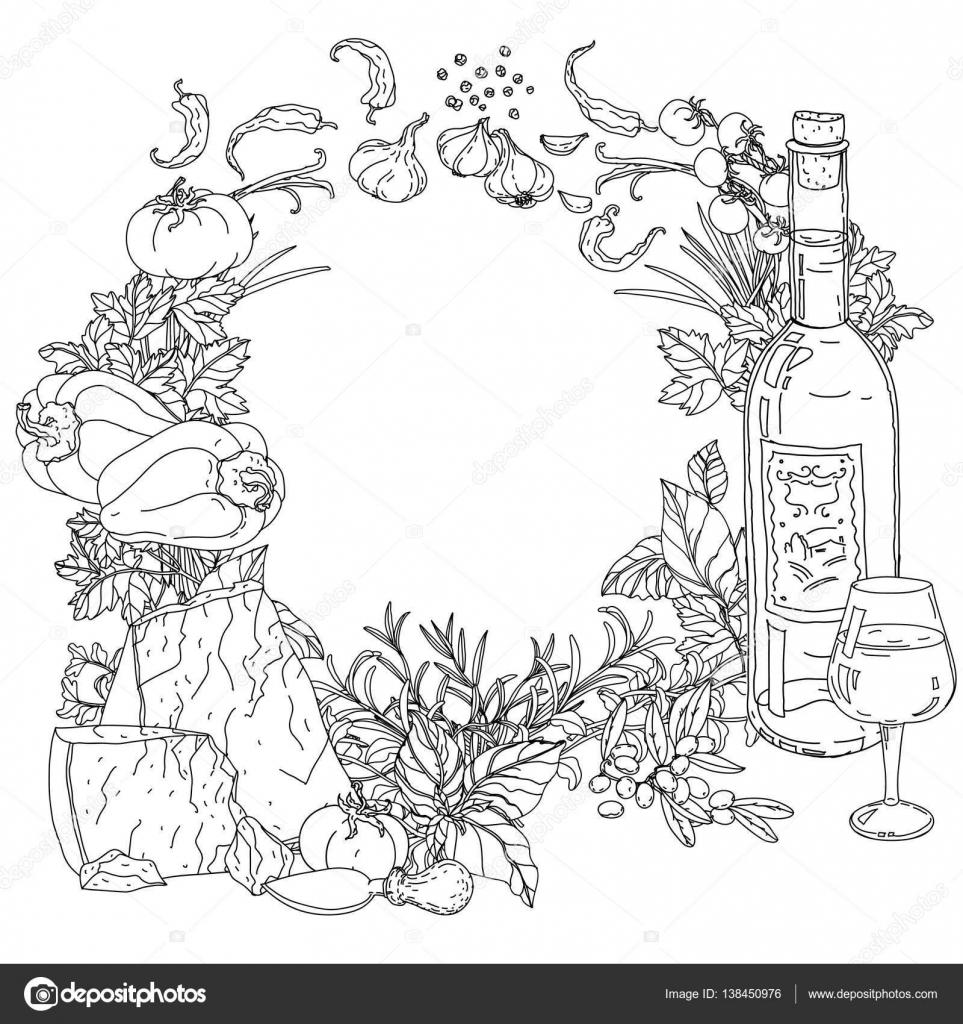 cocina italiana para colorear libro — Vector de stock © mashabr ...