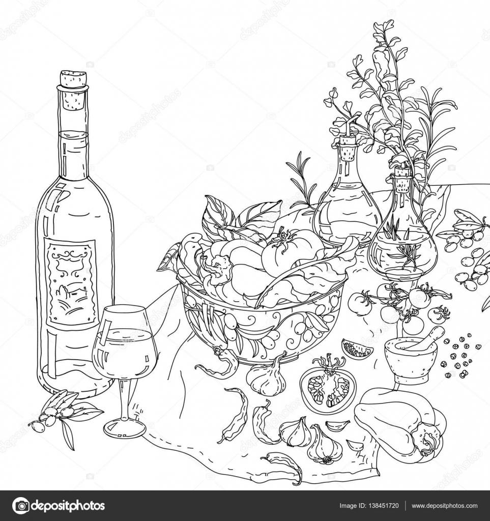 italienische Küche-Malbuch — Stockvektor © mashabr #138451720
