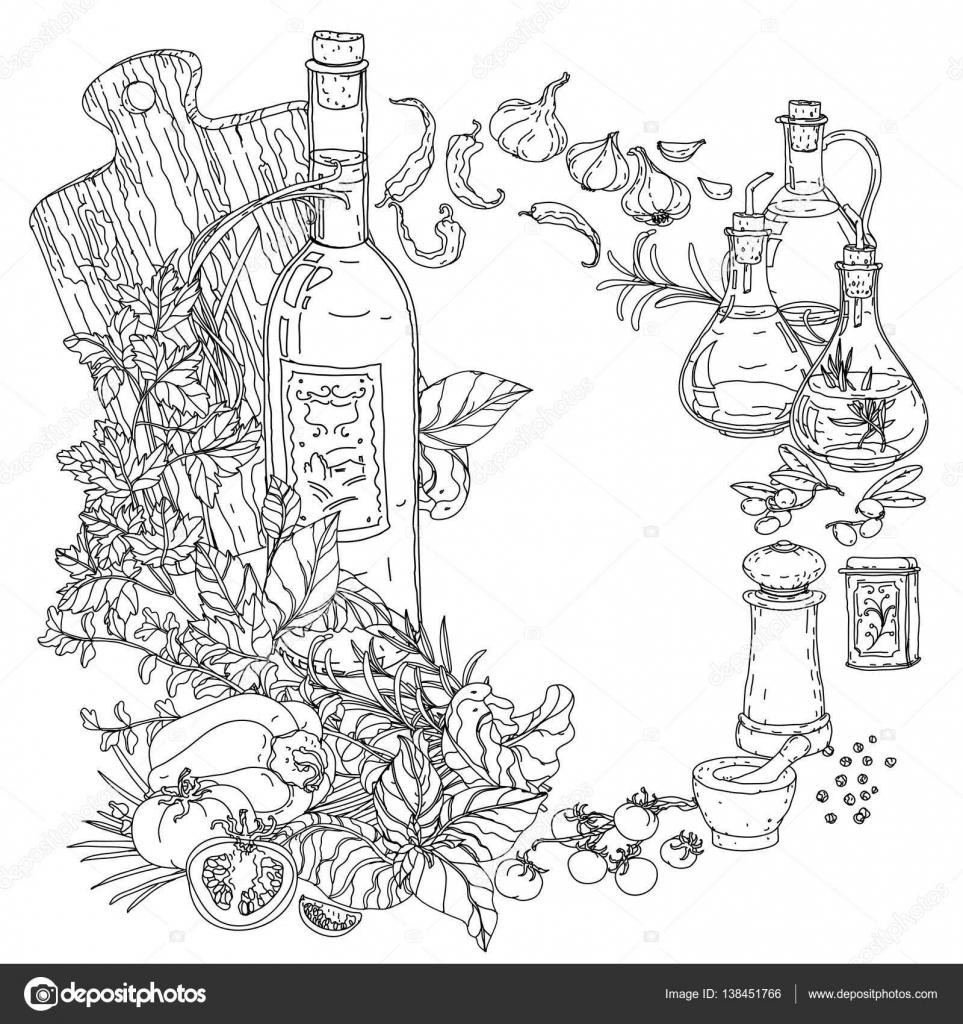 libro da colorare di cucina italiana — Vettoriali Stock © mashabr ...