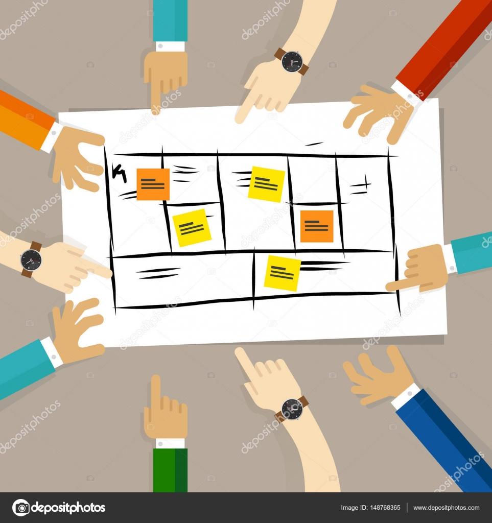 marco del modelo de negocio. equipo discutir plan de desarrollo para ...
