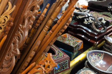 wooden handicraft hand made from carved wood traditional craft with pattern from Indonesia Asia