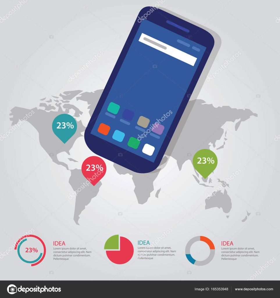 World map global pointer international info graphic business process world map global pointer international info graphic business vector process full color of smart phone gadget communication technology mobile device vector gumiabroncs Choice Image