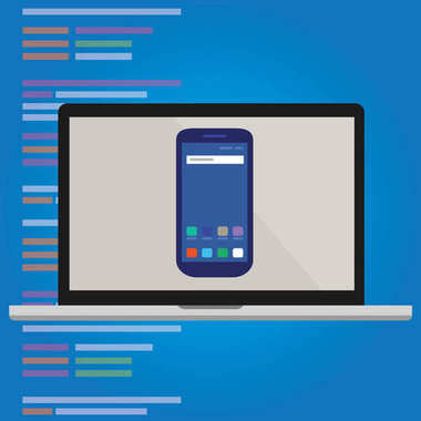 emulator smart-phone on laptop computer screen mobile application programming