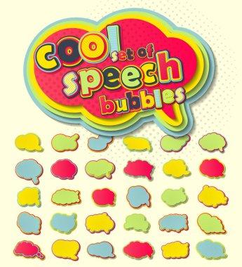 Colorful speech bubbles, pop art style.
