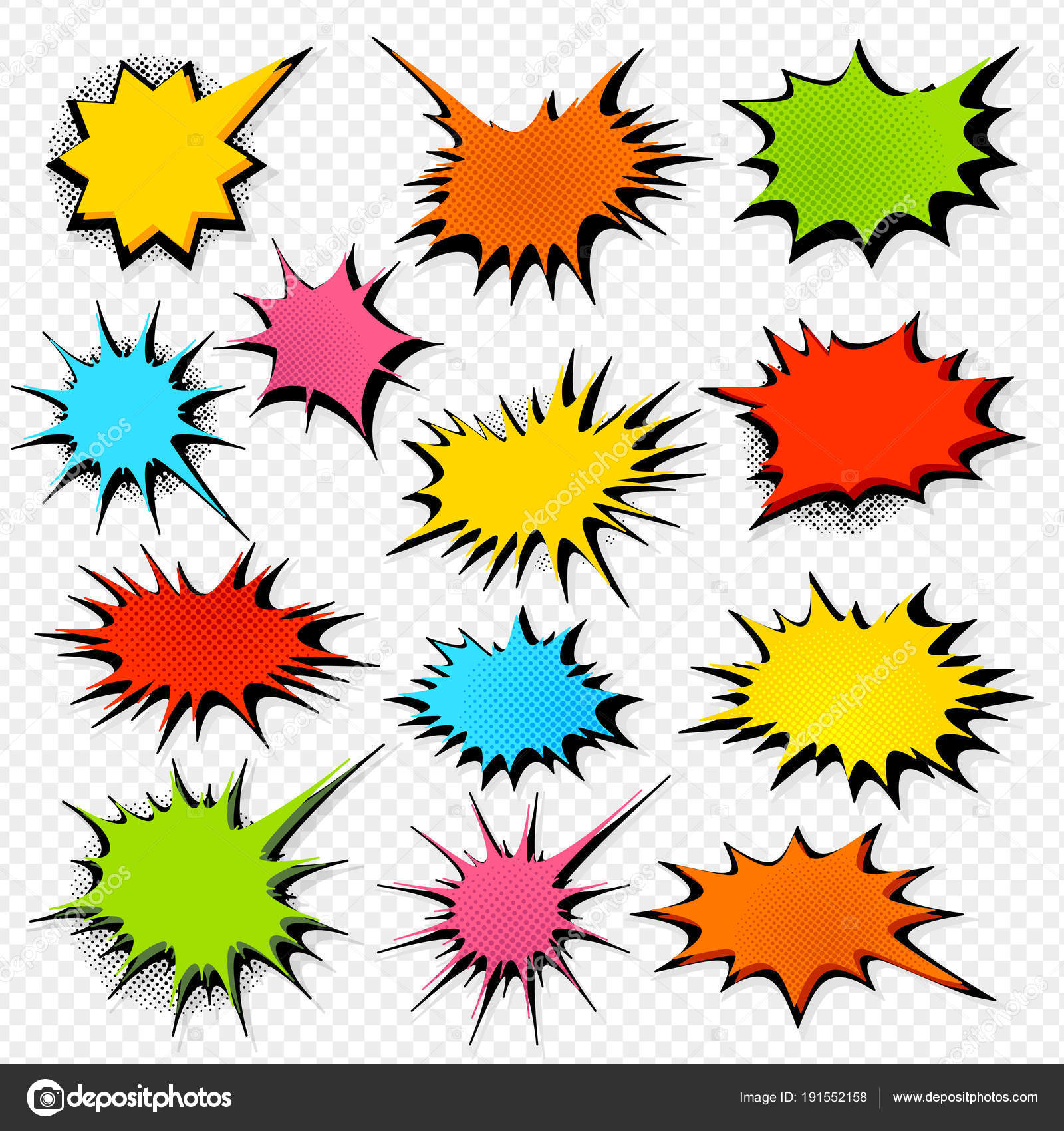 set colorful starburst stickers transparent background collection