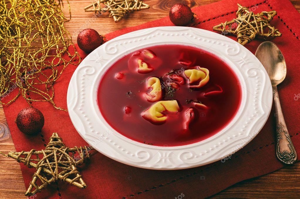 Christmas Soup.Traditional Polish Christmas Soup Red Borscht Soup With