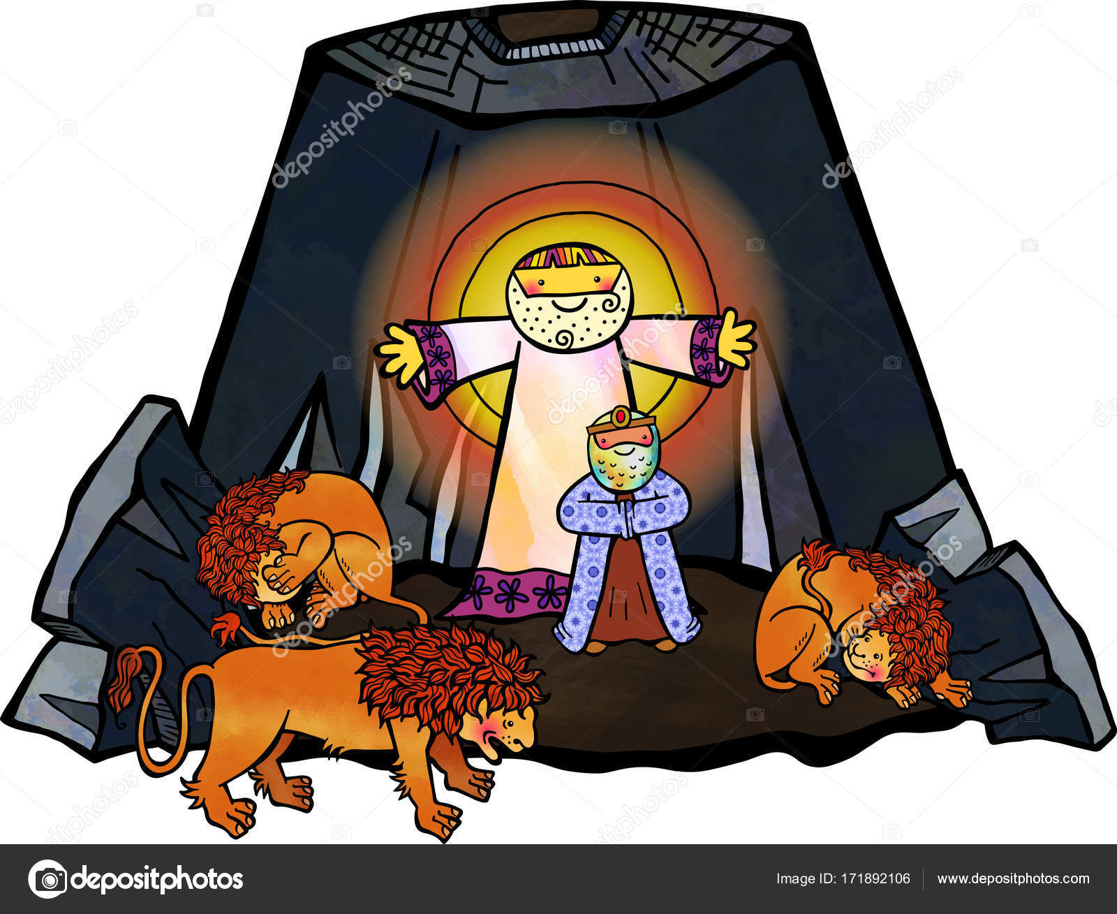 Daniel en la guarida de los leones — Foto de stock © Prawny #171892106