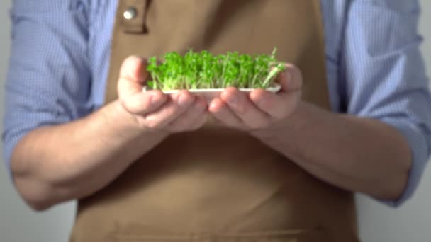 Man in brown apron holds out bowl of sprouts of micro greens in front of him.