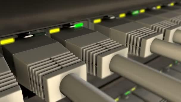 UTP kabely připojené k síti přepínače smyčka
