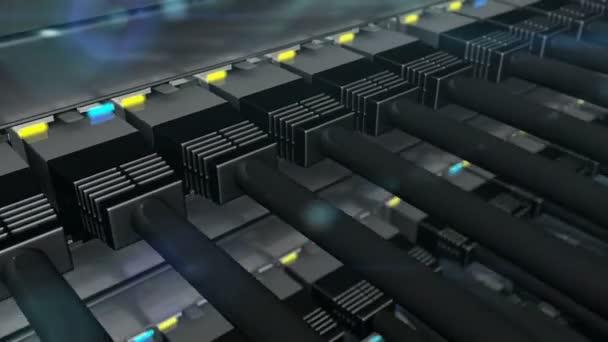 Černé konektory zapojené do sítě switch smyčka
