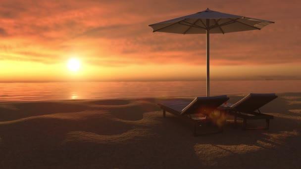 Este kilátás a paradicsomi trópusi strandra naplementekor