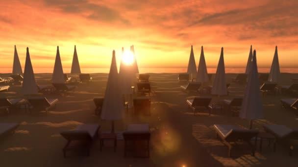 Esti kilátás az üres strandra a vörös naplemente ellen