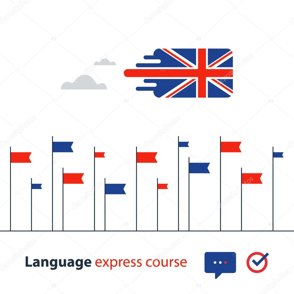 English language courses advertising concept. Fluent speaking foreign language