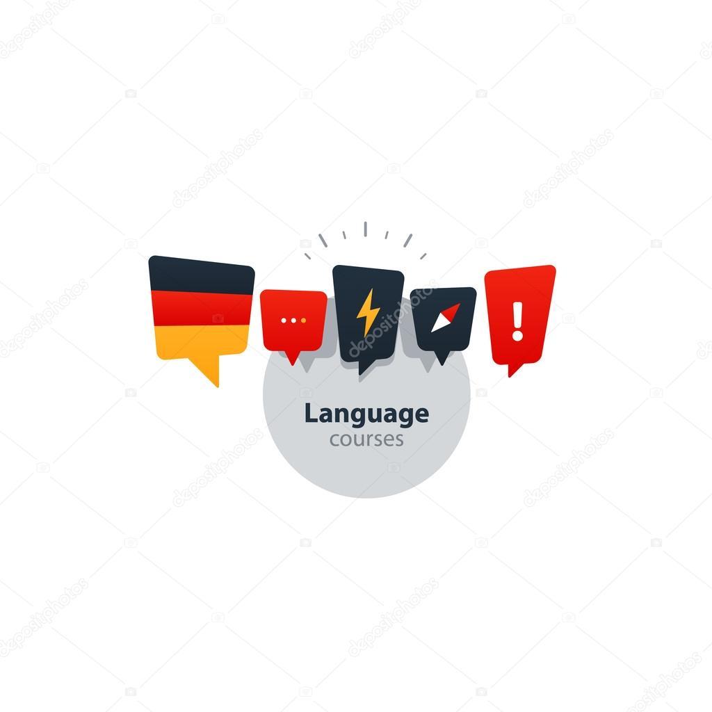 German language courses advertising concept. Fluent speaking foreign language