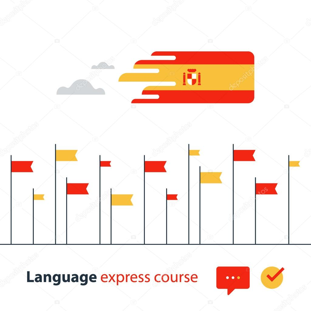 Spanish language courses advertising concept. Fluent speaking foreign language