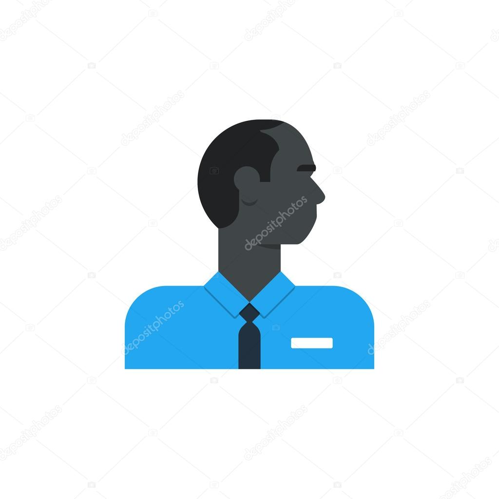 Black man side view, turned head, security work, sales person, customer service