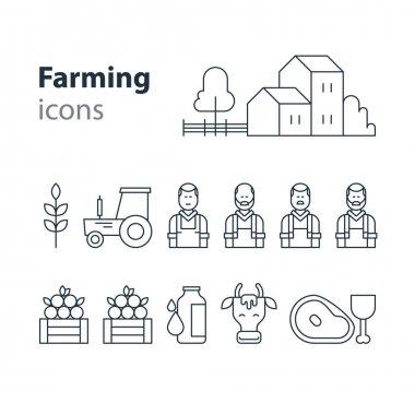 Farming products icons set, farm house, fruit vegetables, cow milk, meat