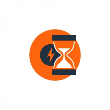 Delivery logistics serveces icon, fast time, sand glass