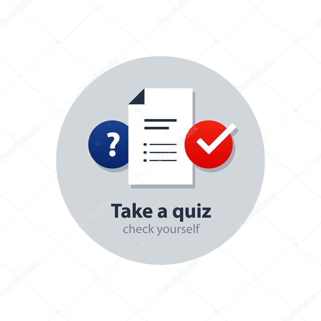 Questionair, survey concept, consulting services, tutoring and guidance icons
