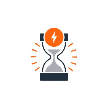 Delivery logistics services icon, fast time, sand glass