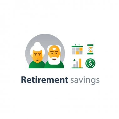 Retiremet, pension finance, insurance idea, savings account, time is money