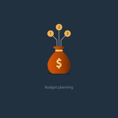Big sack with money, financial investment safety plan, budget management vector