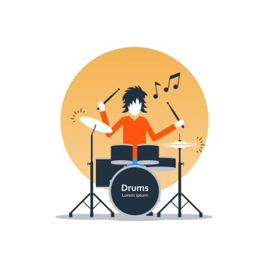 Person playing drums, music entertainment, live show