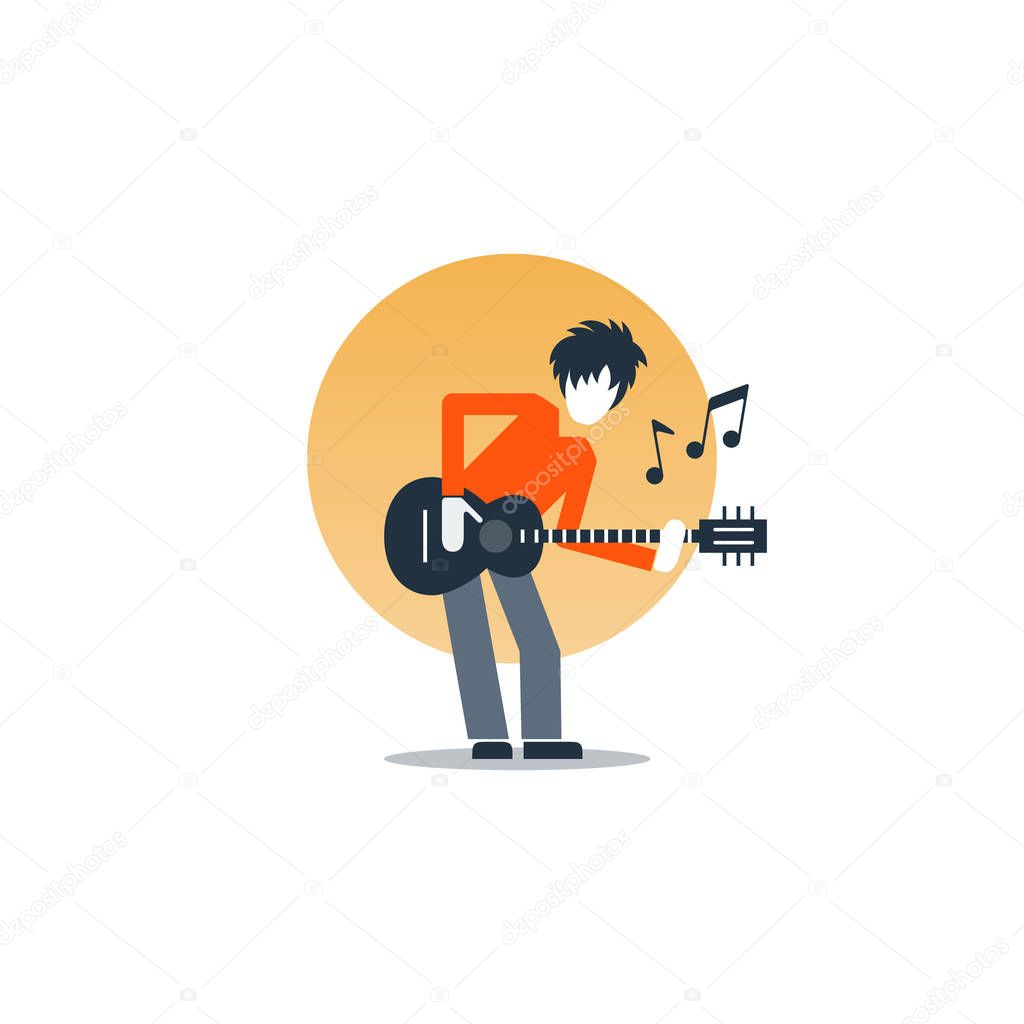 Person playing guitar, music entertainment, live show