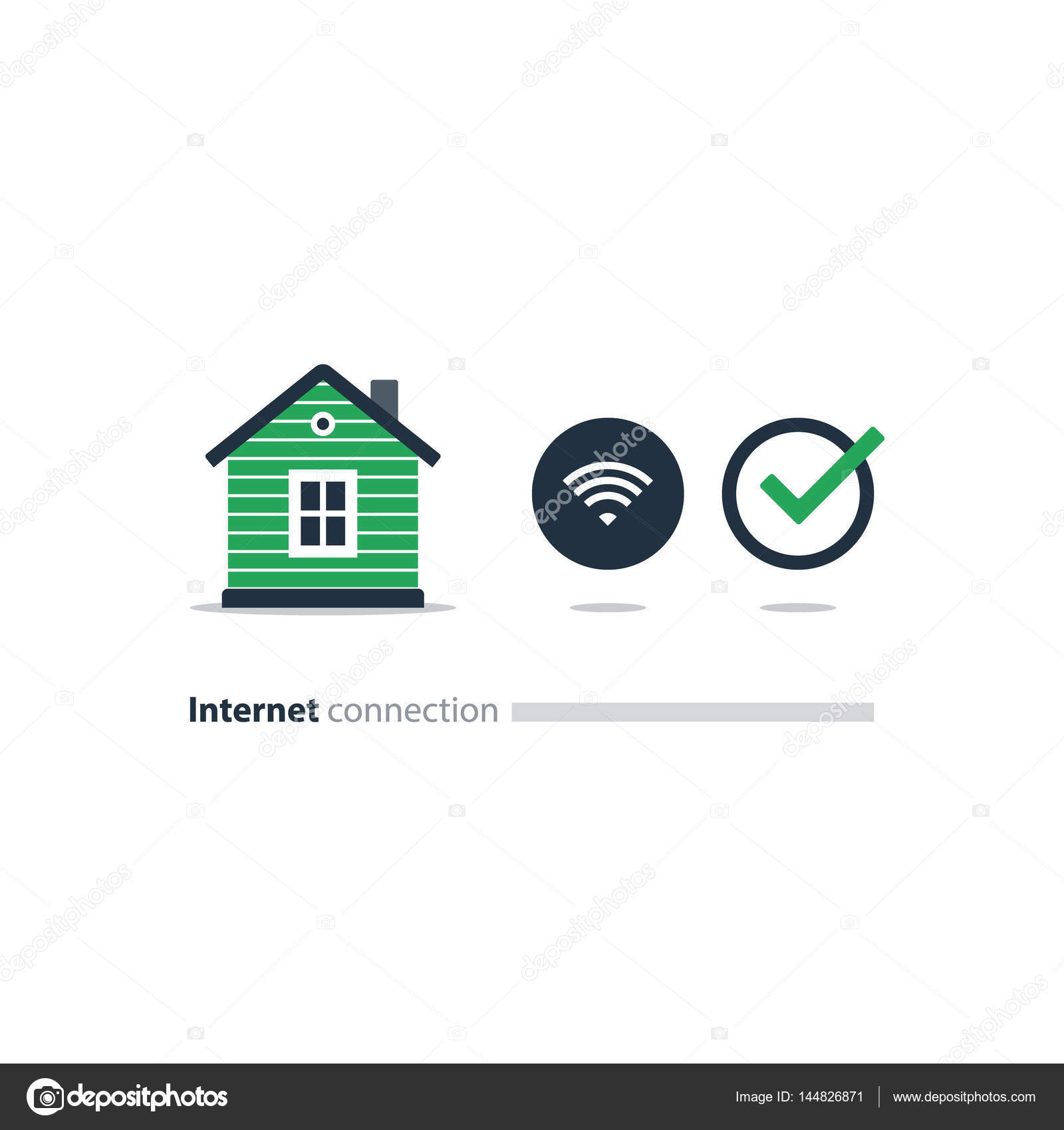 Internet access at home, wi-fi icon, smart solution concept — Stock ...