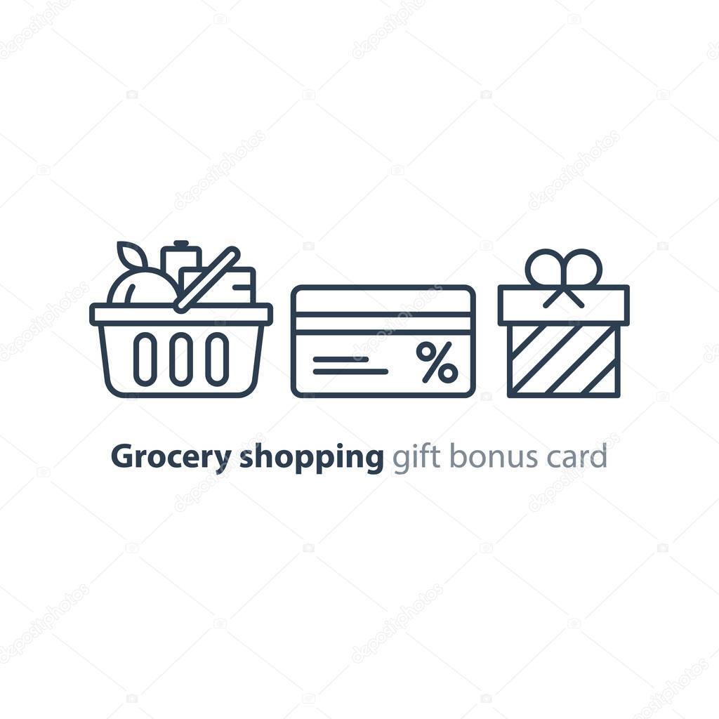 Food basket, grocery order, shop special offer, bonus discount card line icon