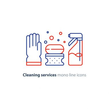 Sanitation objects set, cleaning equipment items and services, line icons