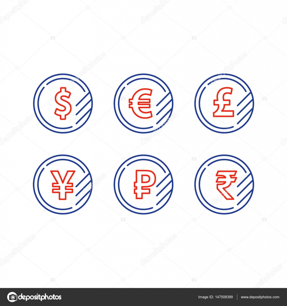 Dollar sign euro symbol pound icon ruble coin financial currency signs money exchange dollar euro pound yen ruble coins vector mono line icons vector by stmool biocorpaavc Gallery