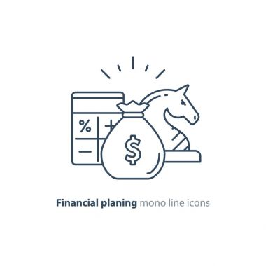 Audit services, financial consulting, money investment strategy idea, line icon